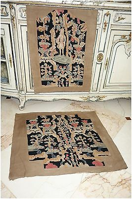 GORGEOUS FRENCH ANTIQUE NEEDLEPOINT 2 PC. for CHAIR, PILLOWS, STOOL, BENCH WALL