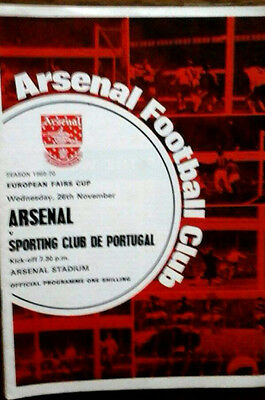 Arsenal V Sporting 26/11/1969 Uefa/fairs Cup + Token