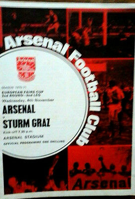 Arsenal V Sturm Graz 4/11/1970 Uefa / Fairs Cup + Token Double Season