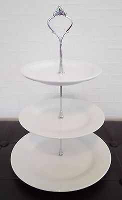 Brand new white three tier ceramic cake stand for afternoon tea / wedding