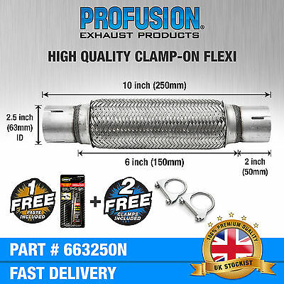 """Clamp On 2.5"""" x 10"""" inch Exhaust Flexible Joint Repair Flexi Pipe tube Flex"""