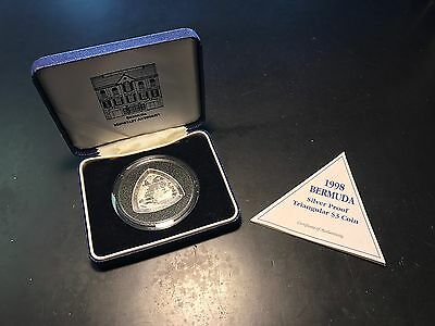 Bermuda 1998 $3 Proof Sterling Silver Triangular Three Dollar Coin w/ Box & COA