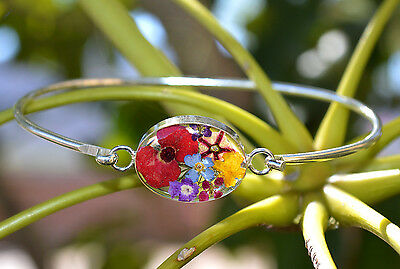 Bracelet .925 Sterling Silver Pressed Real Mix Flowers Oval Design Mexico