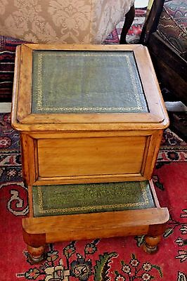 Antique Green Leathertop Commode Bedside Step Stool Chamber Pot