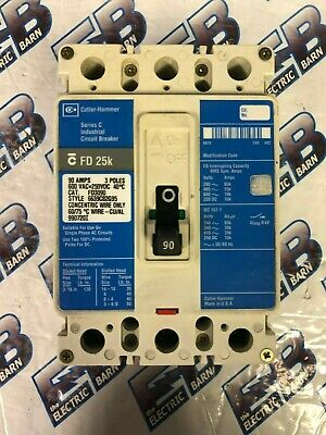 Cutler Hammer Fd3090, 90 Amp 3 Pole 600 Volt Circuit Breaker, Blue- Warranty