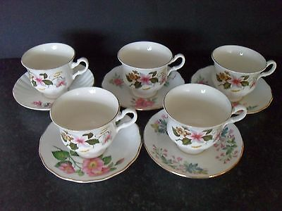 Bone China Shabby Chic Miss-Matched Tea Set 5 Duos