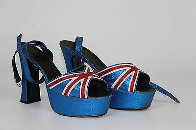 Women's 70's Style Union Jack Glitter Platform Shoes Fancy Dress UK 8 (45)
