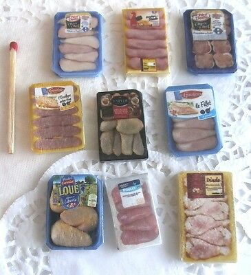 Aliment Factice Maison de Poupée Vitrine Doll House Food 9 barquettes miniatures