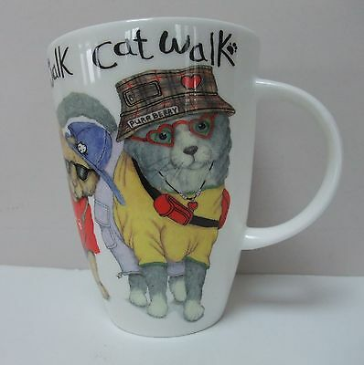 Roy Kirkham Cat Walk Coffee Mug Fine Bone China England Cats in Designer Clothes