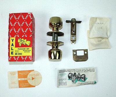 Retro Polished Brass Yale Passage Door Lock Art Deco Home Restoration NOS MMH TS