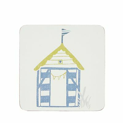 Home Collection Off-White Set Of 6 Beach Hut Print Coasters From Debenhams
