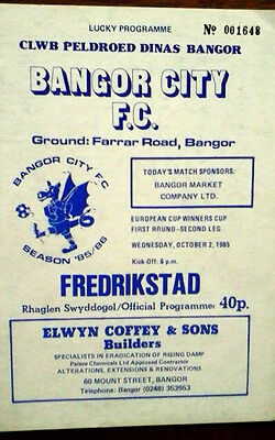 Bangor City V Fredrikstad 2/10/1985 European Cup Winners Cup