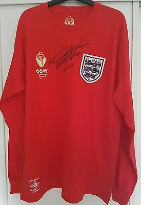 Geoff Hurst signed 1966 World Cup 50th Anni Red long sleeved Football Shirt