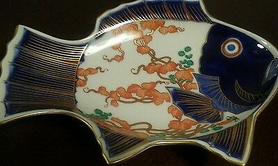 Unusual Antique Japanese Imari Fish Plate Good Colors and Gold Perfect!