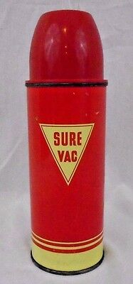 Sur Vac Cork Top Vintage Red and Yellow Metal Thermos