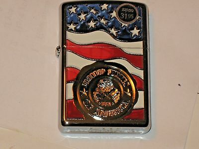 New Windproof USA ZIPPO Oil Lighter 29395 United States of America Stamp on Flag