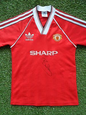 BRYAN ROBSON Hand Signed Manchester United Home Football Shirt - Autograph - COA