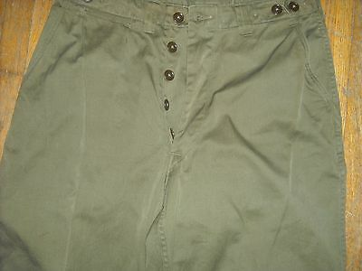 Vtg 40S Wwii 32 X 28 M43 Button Fly Marines Military Army Green Pants Trouser