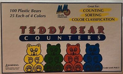 Box of 100 Teddy Bear Counters counting Bears by Media Materials 4 Colors