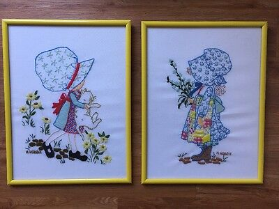 "Vtg Holly Hobbie Crewel Embroidery Framed Set Of 2 Girl Cat 13""x17"" Completed"