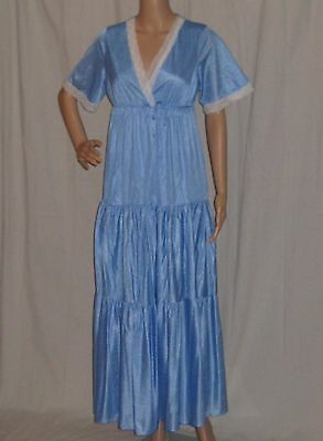 Vintage 1970's Baby Blue Tiered Robe and Night Gown Set by Elizabeth Silky Nylon