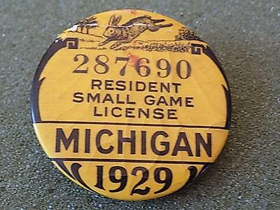 Antique 1929 Michigan Resident Small Game License Pinback Button