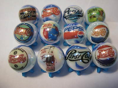Pepsi Cola Soda Pop Glass Marbles 5/8 Size Collection Lot + Stands