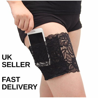 Non Slip Lace Elastic Sock Anti-Chafing Thigh Bands with pocket - UK SELLER