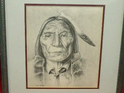Antique Native American Art  Chief Wolf Robe, by Jon Tiger signed and dated 1976
