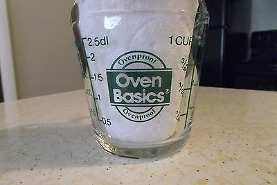 Anchor Hocking Oven Basics Green Lettering 1 Cup Measure Cup  NICE