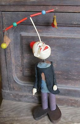 VINTAGE 1940's IRWIN O LOOK JUGGLING CLOWN CELLULOID WINDUP TOY