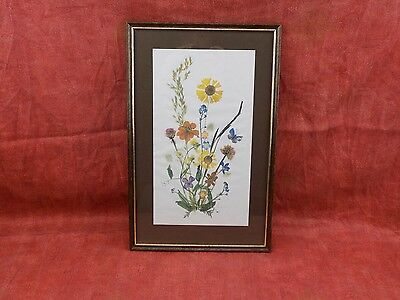 fine print of watercolour painting by Hoffman, flowers, gilt wood picture frame