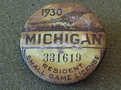Vintage 1930 Michigan Resident Small Game License Pinback Button