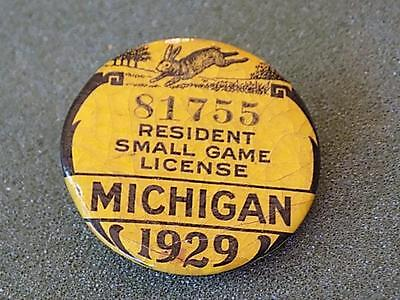 Antique 1929 Michigan Resident Small Game License Pinback Button w/ Paper