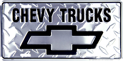 "Chevy Chevrolet Trucks Diamond 6""x12"" Aluminum License Plate Tag"