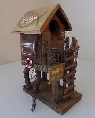 Handmade Rustic Wooden Bird House Bait & Fishing Shop Beach House Patio Decor