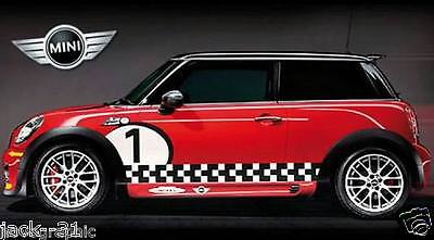 2 Side Stripe MINI COOPER S CHALLENGE Rally Race DECAL STICKER KIT + 2 gumball