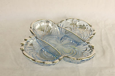 Cambridge Glass Caprice Moonlight Blue Sterling Silver Overlay #124 Relish