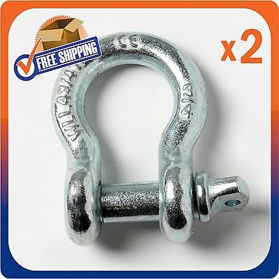 "PAIR (2) OF NICKEL 3/4"" D-RING BOW SHACKLE w 7/8"" SCREW PIN 10500 LB CAPACITY"