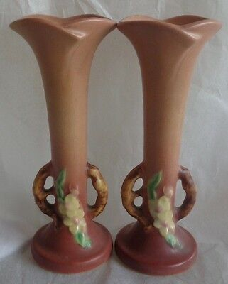 2  Roseville Pottery Apple Blossom Bud Vase Pink 379-7