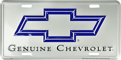 "Genuine Chevrolet Chevy Trucks Cars Silver 6""x12"" Aluminum License Plate Tag"
