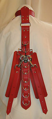 New Red Real Leather Fetish/Bondage Unisex Half Hog Tie & Cuffs Restraints Set