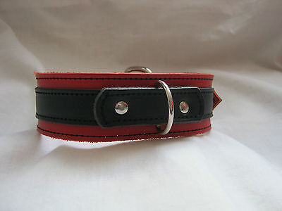 New Black & Red Real Leather Fetish/Bondage/Gothic/Punk Collar