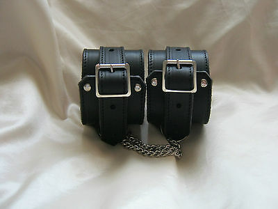 New Black Real Leather & Chain Fetish/Bondage Ankle Shackles Restraint Cuffs