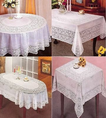 Oval Round Rectangle Vinyl Pvc White Embossed Lace Tablecloth Cover Kitchen