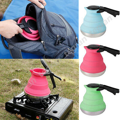 1.5L Collapsible Kettle Fishing Camping Folding Pop-Up Gas Stove Hot Water Pot