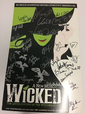 Wicked NY Cast SIGNED 14x22 Window Card Poster Gershwin Theatre Broadway