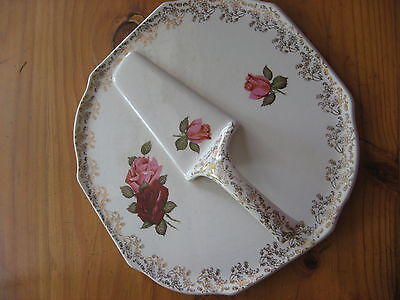 Vintage Lord Nelson Cake Plater With Slide Roses