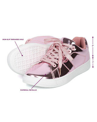 New Women Heart.Thentic ANDI Mirror Metallic Lace Up Low Top Sneaker