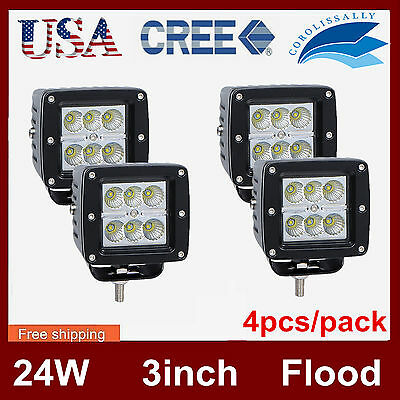 4X 24W 3inch CREE Cube Pods LED Work Light Driving Offroad 6000K Flood Beam CORO